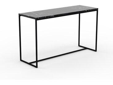 Table basse en marbre Noir Marquina, design contemporain, bout de canapé luxueux et sophistiqué - 121 x 71 x 42 cm, personnalisable