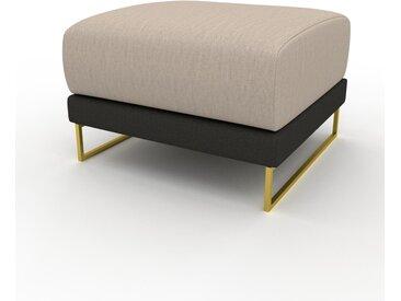 Pouf - Anthracite avec des pieds dorés, design épuré, 60 x 42 x 60 cm, modulable