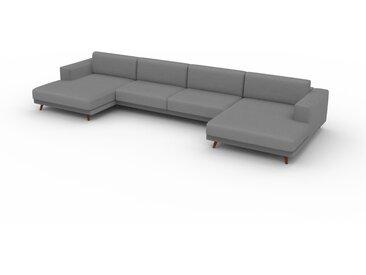 Canapé en U - Blanc Granite, design épuré, canapé d'angle panoramique, grand et tendance, avec pieds - 448 x 75 x 162 cm, modulable