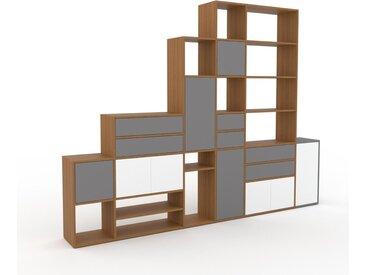 Système d'étagère - Gris, design, rangements, avec porte Blanc et tiroir Gris - 306 x 233 x 35 cm
