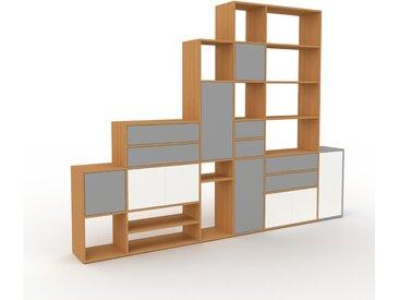 Système d'étagère - Chêne, design, rangements, avec porte Blanc et tiroir Gris - 306 x 233 x 35 cm
