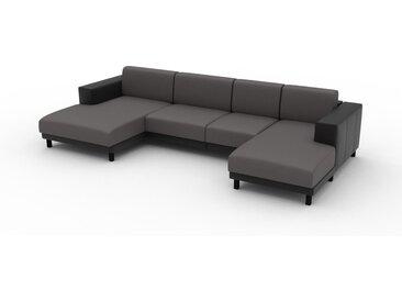 Canapé en cuir - Gris gravier Cuir Végan, lounge, esprit club ou cosy avec toucher chaleureux, 328x 75 x 162 cm, modulable