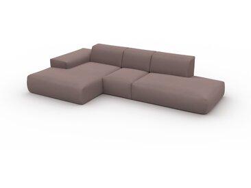Canapé d'angle Velours - Rose Poudré, design arrondi, canapé en L ou angle, confortable avec méridienne ou coin - 319 x 72 x 168 cm, modulable