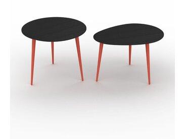 Tables basses gigognes - Wengé, ronde/ovale, design scandinave, set de 2 tables basses - 60/67 x 50/44 x 60/50 cm, personnalisable