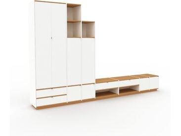 Meuble TV - Blanc, design, meuble hifi, multimedia, avec porte Blanc et tiroir Blanc - 380 x 239 x 47 cm