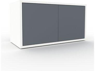 Buffet bas - Blanc, pièce de caractère, rangements bas de luxe, avec porte Anthracite - 77 x 41 x 35 cm, personnalisable