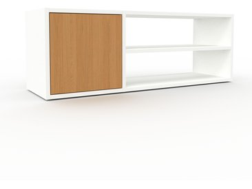 Buffet bas - Blanc, pièce de caractère, rangements bas de luxe, avec porte Chêne - 116 x 41 x 35 cm, personnalisable