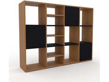 Bibliothèque - Chêne, pièce de caractère, rangements raffiné, avec porte Noir - 156 x 118 x 35 cm, configurable