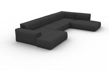 Canapé en U - Anthracite, design arrondi, canapé d'angle panoramique, grand, bas et confortable - 241 x 72 x 391 cm, modulable
