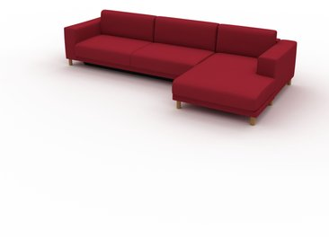 Canapé convertible - Rouge Cerise, design épuré, canapé lit confortable, confortable avec coffre de rangement - 328 x 75 x 162 cm, modulable