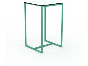 Table basse en Verre clair transparent, design industriel, bout de canapé raffiné - 42 x 71 x 42 cm, personnalisable