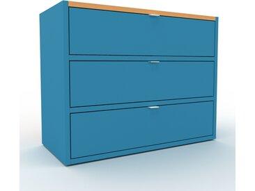 Caisson à roulette - Bleu, pièce modulable, rangement mobile, avec tiroir Bleu - 77 x 61 x 35 cm