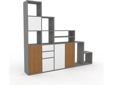 Système d'étagère - Gris, design, rangements, avec porte Blanc et tiroir Blanc - 231 x 195 x 35 cm