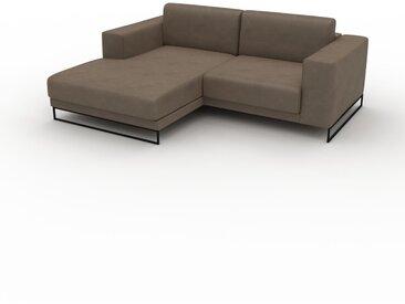 Canapé en cuir - Brun gris Cuir Végan, lounge, esprit club ou cosy avec toucher chaleureux, 208x 75 x 162 cm, modulable