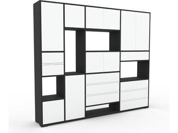 Meuble de rangements - Blanc, design, pour documents, avec porte Blanc et tiroir Blanc - 229 x 196 x 35 cm