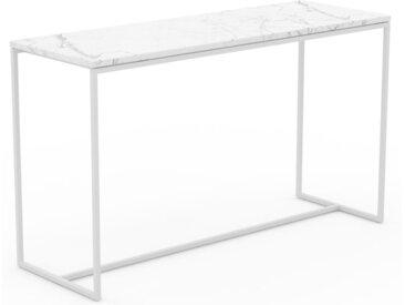 Table basse en marbre Blanc Carrara, design contemporain, bout de canapé luxueux et sophistiqué - 121 x 71 x 42 cm, personnalisable