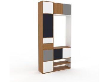 Système d'��tagère - Chêne, design, rangements, avec porte Blanc et tiroir Blanc - 116 x 233 x 35 cm