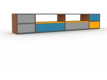 Buffet bas - Noyer, modèle tendance, rangements bas sophistiqué, avec tiroir Gris - 229 x 41 x 35 cm, modulable