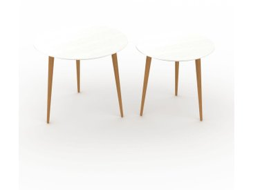 Tables basses gigognes - blanc, ronde/ronde, design scandinave, set de 2 tables basses - 60/50 x 50/47 x 60/50 cm, personnalisable