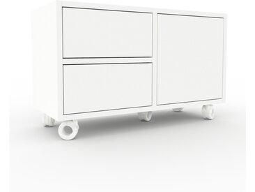 Caisson à roulette - Blanc, moderne, avec porte Blanc et tiroir Blanc - 79 x 49 x 35 cm