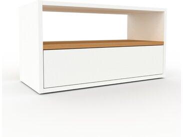 Meuble TV - Blanc, contemporain, meuble hifi, multimedia raffiné, avec tiroir Blanc - 77 x 41 x 35 cm, configurable