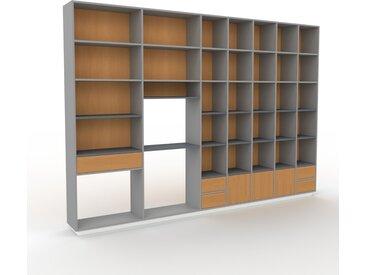 Bibliothèque murale - Gris, combinable, étagère, avec porte Chêne et tiroir Chêne - 344 x 239 x 35 cm