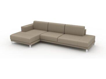 Canapé en cuir - Beige taupe Cuir Pigmenté, lounge, esprit club ou cosy avec toucher chaleureux, 304x 75 x 162 cm, modulable