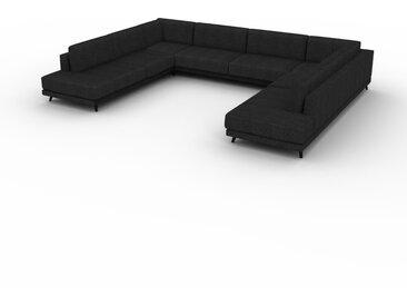 Canapé en U - Noir Lave, design épuré, canapé d'angle panoramique, grand et tendance, avec pieds - 388 x 75 x 294 cm, modulable
