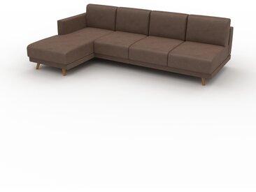 Canapé en cuir - Marron café Cuir Végan, lounge, esprit club ou cosy avec toucher chaleureux, 253x 75 x 162 cm, modulable