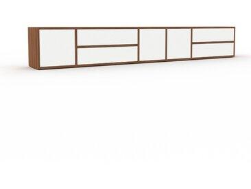 Buffet bas - Noyer, design contemporain, avec porte Blanc et tiroir Blanc - 267 x 41 x 35 cm