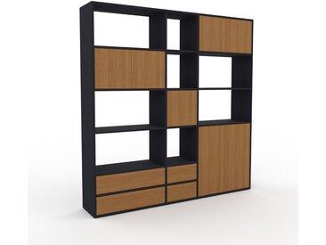 Système d'étagère - Anthracite, design, rangements, avec porte Chêne et tiroir Chêne - 190 x 195 x 35 cm