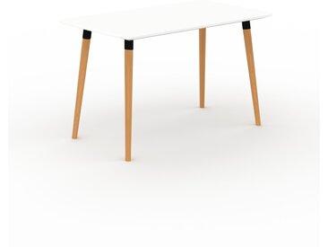 Bureau scandinave - Blanc, design moderne, table de travail nordique, avec pieds inclinés et épurés - 120 x 75 x 70 cm, modulable