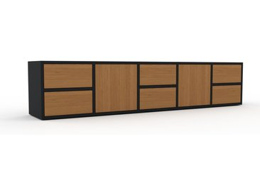 Buffet bas - Chêne, design contemporain, avec porte Chêne et tiroir Chêne - 195 x 41 x 35 cm