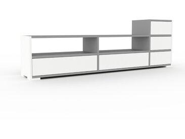 Meuble TV - Blanc, contemporain, meuble hifi, multimedia raffiné, avec tiroir Blanc - 190 x 62 x 35 cm, configurable