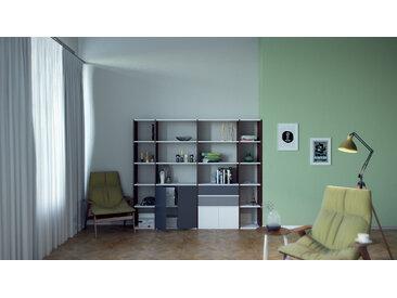 Système d'étagère - Graphite, design, rangements, avec porte Graphite et tiroir Gris - 229 x 157 x 35 cm
