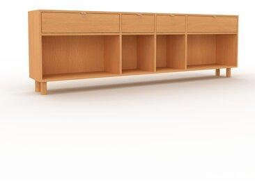 Bibliothèque - Hêtre, modèle tendance, rangements pour livres, avec tiroir Hêtre - 229 x 72 x 35 cm, modulable
