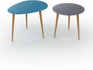 Tables basses gigognes - Anthracite, ovale/ronde, design scandinave, set de 2 tables basses - 67/50 x 50/47 x 50/50 cm, personnalisable