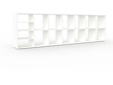 Bibliothèque - Blanc, design, étagère pour livres, sophistiquée, ouverte et fonctionelle - 272 x 80 x 35 cm, personnalisable