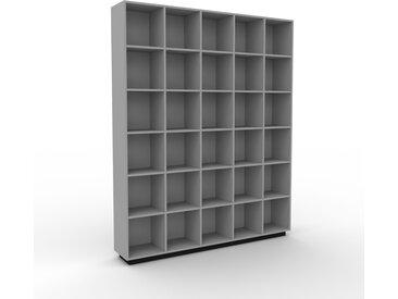 Bibliothèque - Gris, design, étagère pour livres, sophistiquée, ouverte et fonctionelle - 195 x 239 x 35 cm, personnalisable