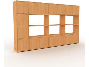 Bibliothèque murale - Hêtre, modèle moderne, étagère, avec porte Hêtre - 265 x 158 x 35 cm, modulable