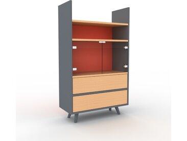 Vitrine - Hêtre, design, pour documents, avec porte Verre clair transparent et tiroir Hêtre - 77 x 130 x 35 cm