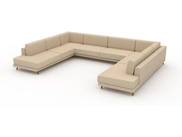 Canapé en U - Beige Crème, design épuré, canapé d'angle panoramique, grand et tendance, avec pieds - 388 x 75 x 294 cm, modulable