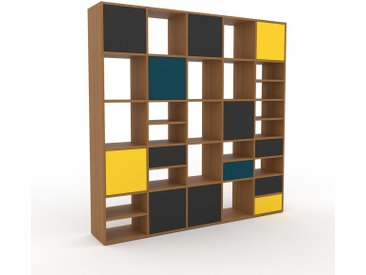 Système d'étagère - Graphite, design, rangements, avec porte Graphite et tiroir Graphite - 195 x 195 x 35 cm