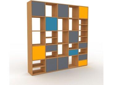 Système d'étagère - Chêne, design, rangements, avec porte Anthracite et tiroir Anthracite - 195 x 195 x 35 cm