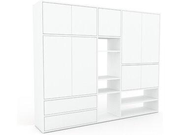 Placard - Blanc, moderne, rangements, avec porte Blanc et tiroir Blanc - 190 x 157 x 35 cm