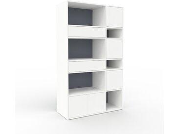 Étagère bureau - Blanc, moderne, cabinet de rangement, avec porte Blanc et tiroir Blanc - 116 x 195 x 47 cm