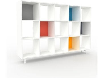 Range CD - Blanc, design contemporain, meuble pour vinyles, DVD - 195 x 130 x 35 cm, personnalisable