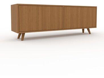 Buffet bas - Chêne, pièce de caractère, rangements bas de luxe, avec porte Chêne - 152 x 53 x 35 cm, personnalisable