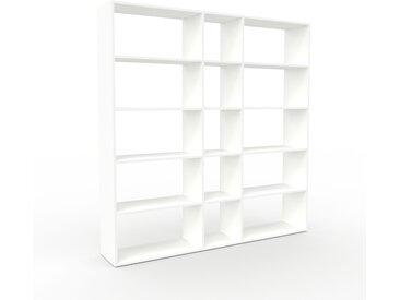 Bibliothèque - Blanc, design, étagère pour livres, sophistiquée, ouverte et fonctionelle - 190 x 195 x 35 cm, personnalisable
