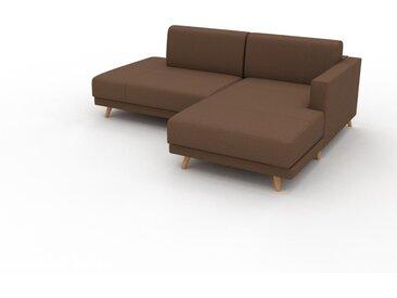 Canapé en cuir - Cognac Cuir Nubuck, lounge, esprit club ou cosy avec toucher chaleureux, 212x 75 x 162 cm, modulable